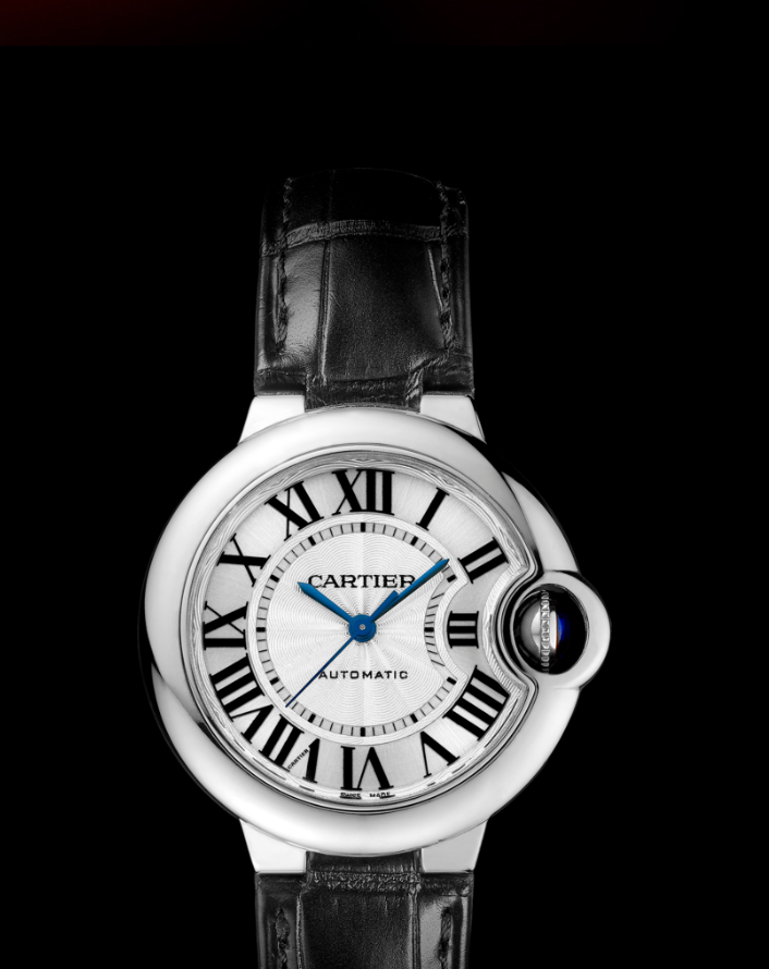Cartier-Ballon-Bleu-Black-Leather-Straps-Replica