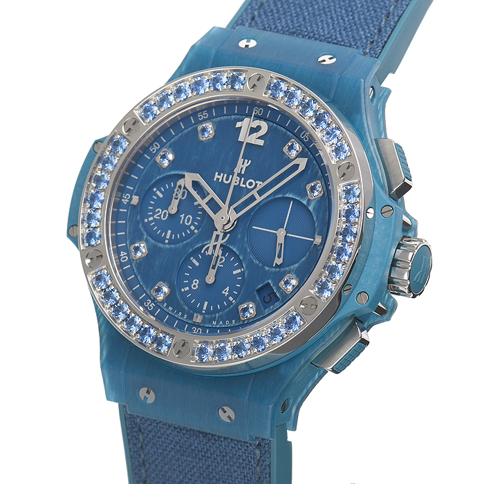 The blue timepieces have sparkling bezels and fancy blue dials.