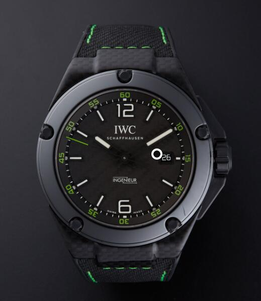 The whole black timepieces have white luminescent plating and green elements.
