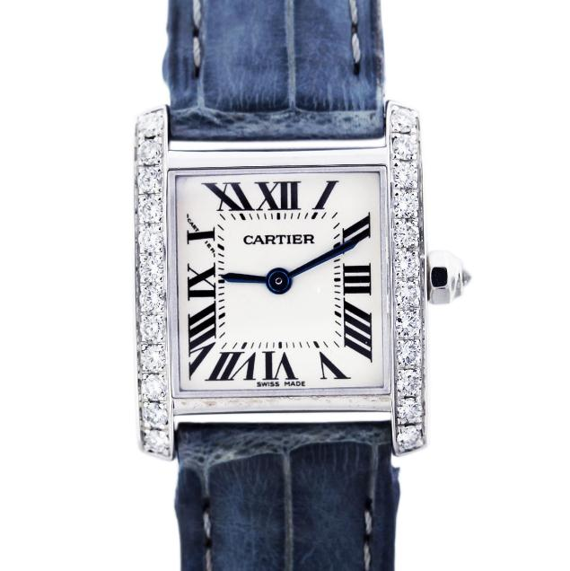 The fancy copy Cartier Tank Francaise watches are made from 18k white gold and decorated with diamonds.