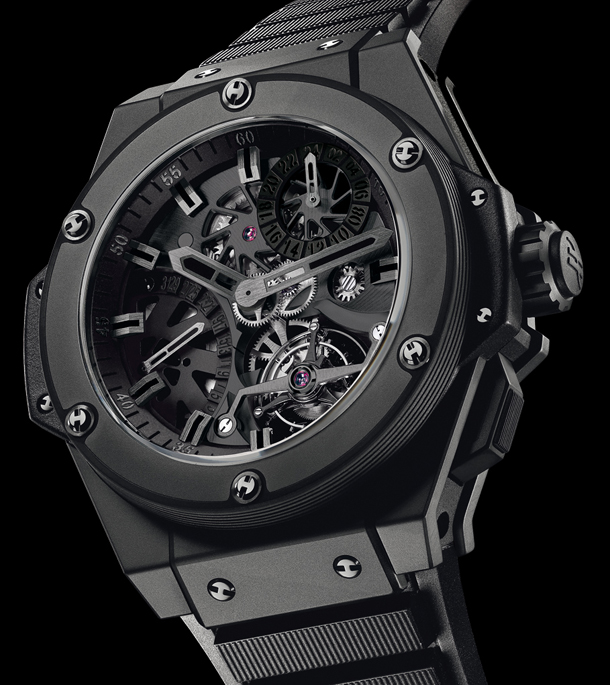 The 48 mm copy Hublot King Power 706.CI.1110.RX watches have skeleton dials.