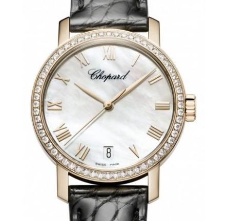 The 33.5 mm replica Chopard Classic 134200-5001 watches have white mother-of-pearl dials.
