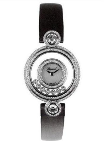 The luxury fake Chopard Happy Diamonds 209180-1001 watches are made from 18k white gold and diamonds.