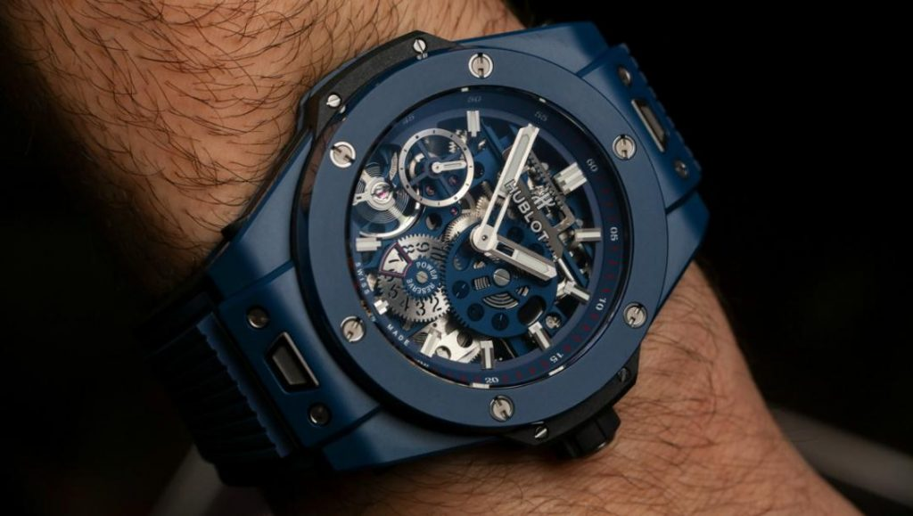 Th 45 mm replica Hublot Big Bang Meca-10 watches are made from blue ceramic.