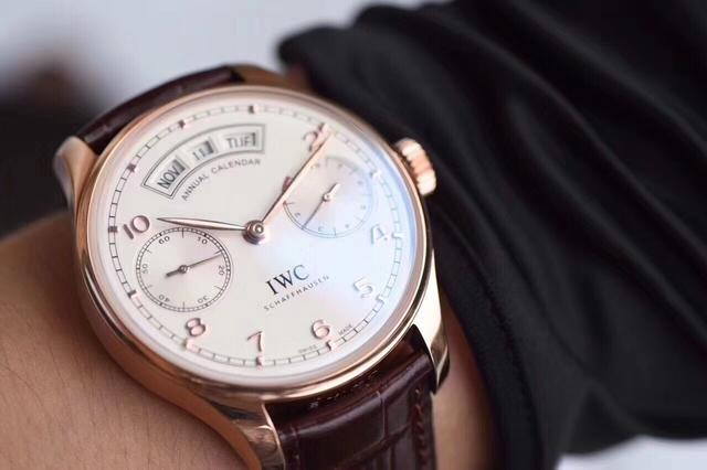 The rose gold fake IWC watches have white dials.