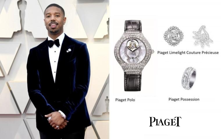 Michael B. Jordan wears the 39 mm 18k white gold fake Piaget Polo G0A32149 watch with sapphires.