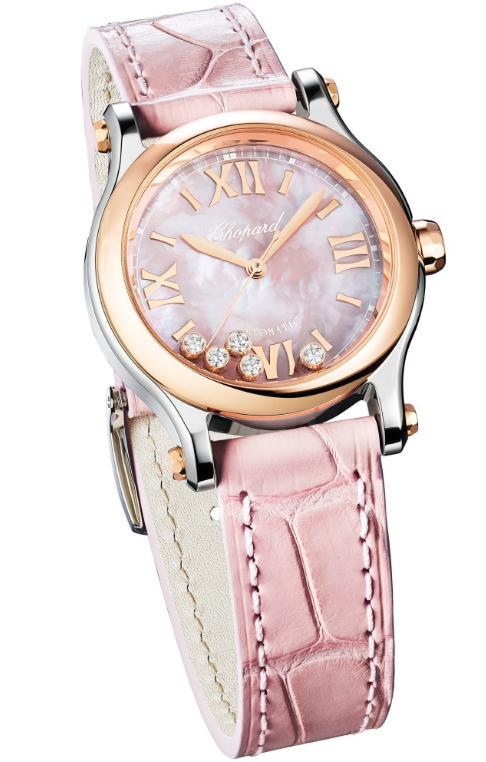 The pink leather straps copy watches have pink mother-of-pearl dials.