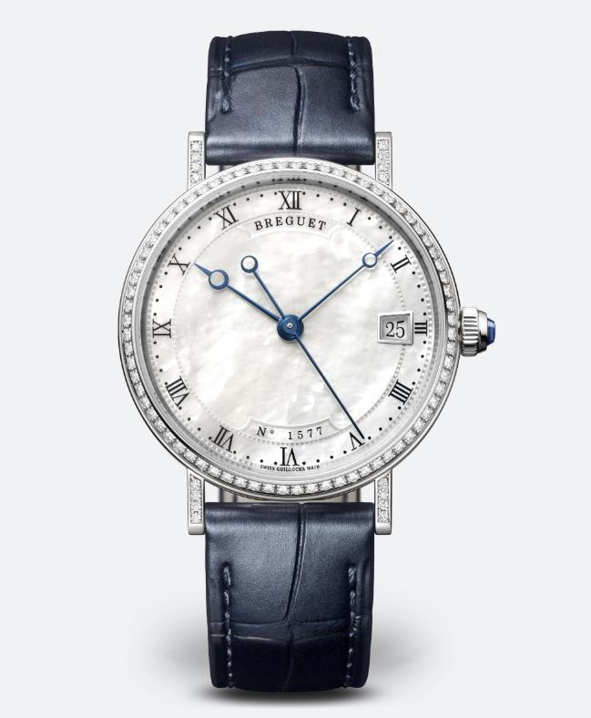 The blue straps copy watches are decorated with diamonds.